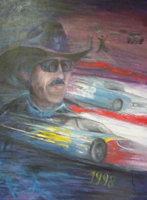 oil painting auto racing image