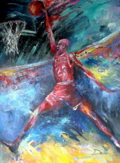 oil painting basketball image
