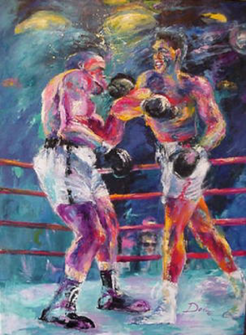 oil painting boxing image