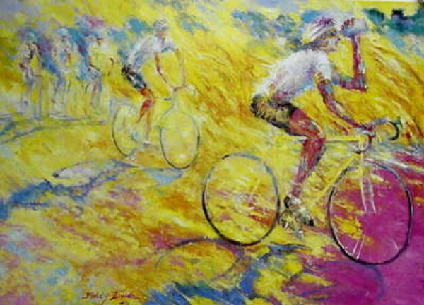 oil painting cycling image