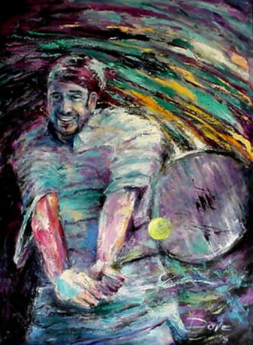 oil painting tennis image